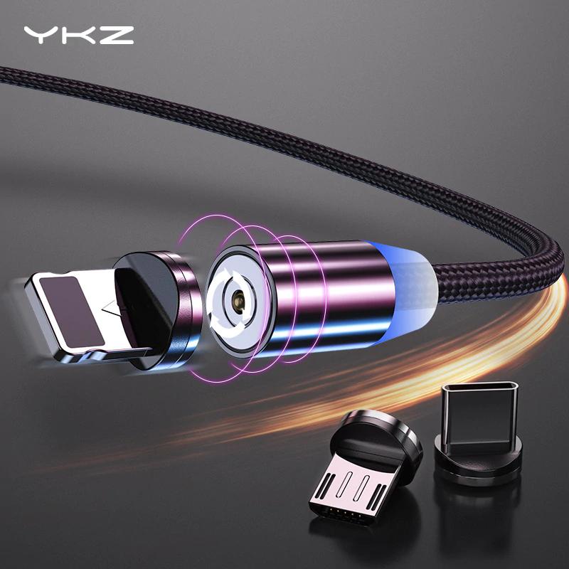 Kabel magnetyczny ze świecącą końcówką MicroUSB lub USB-C 1m, różne kolory, 2.4A