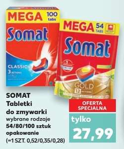 Tabletki do zmywarki Somat Gold 54 tabs / All in One 80 tabs / Classic 100 tabs [Kaufland]