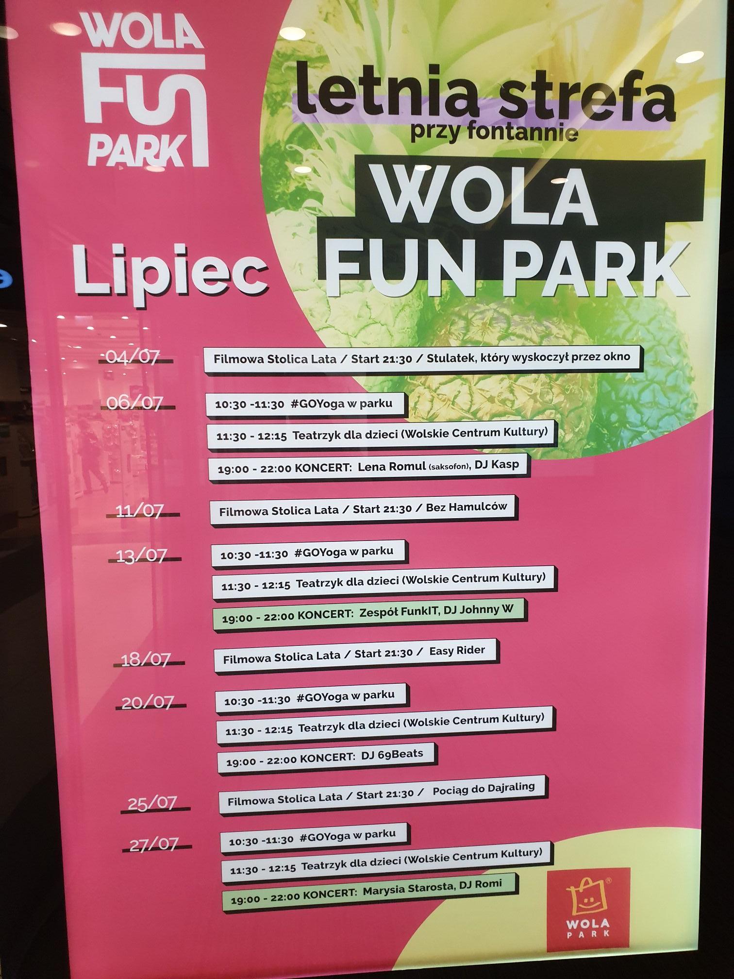 Wola Park Warszawa kino i imprezy letnie w lipcu.