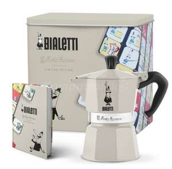 Kawiarka Bialetti Moka Express 3 TZ kremowa + puszka na kawę + notes na komputronik