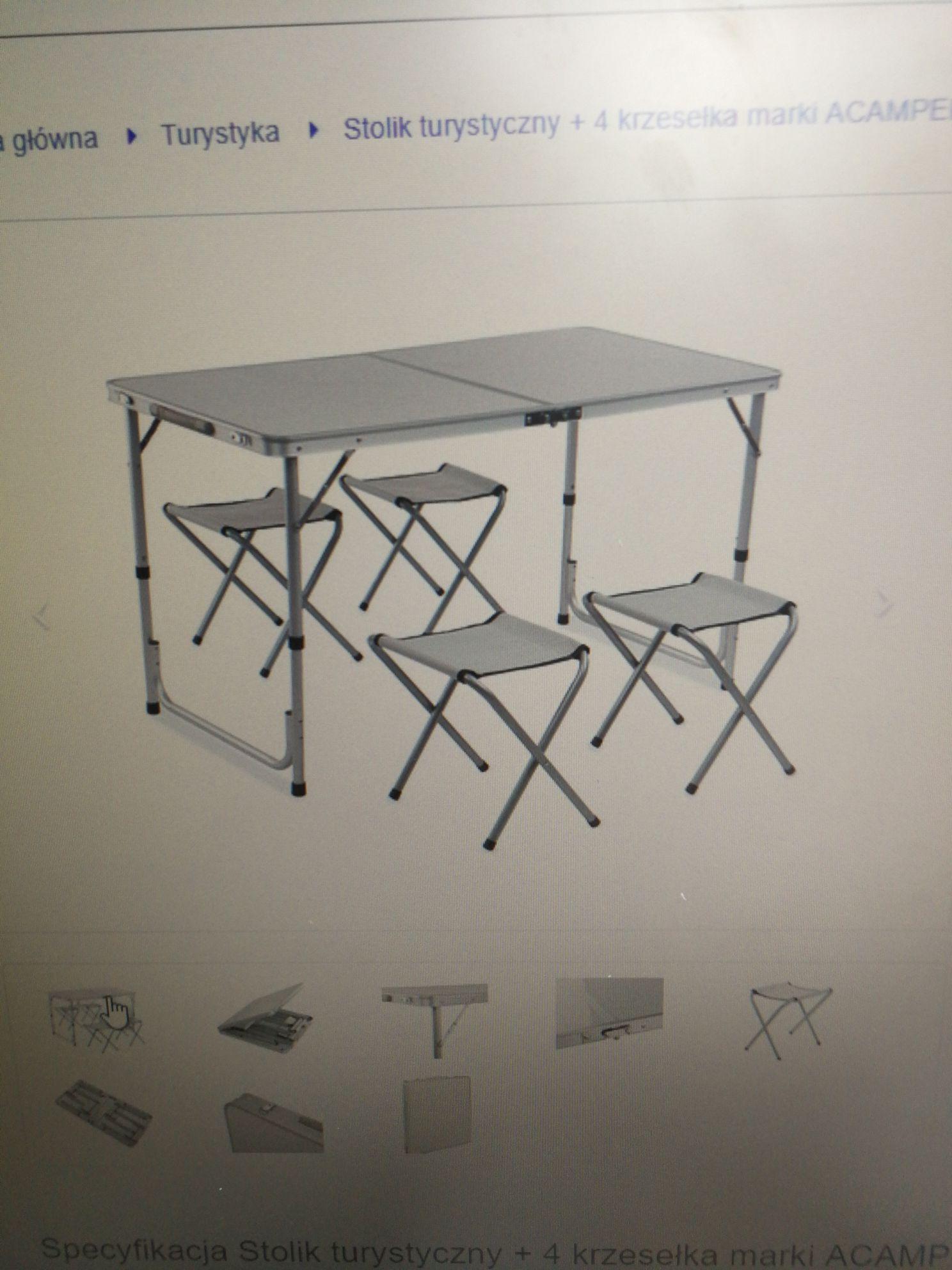 Stolik turystyczny + 4 krzesełka marki ACAMPER