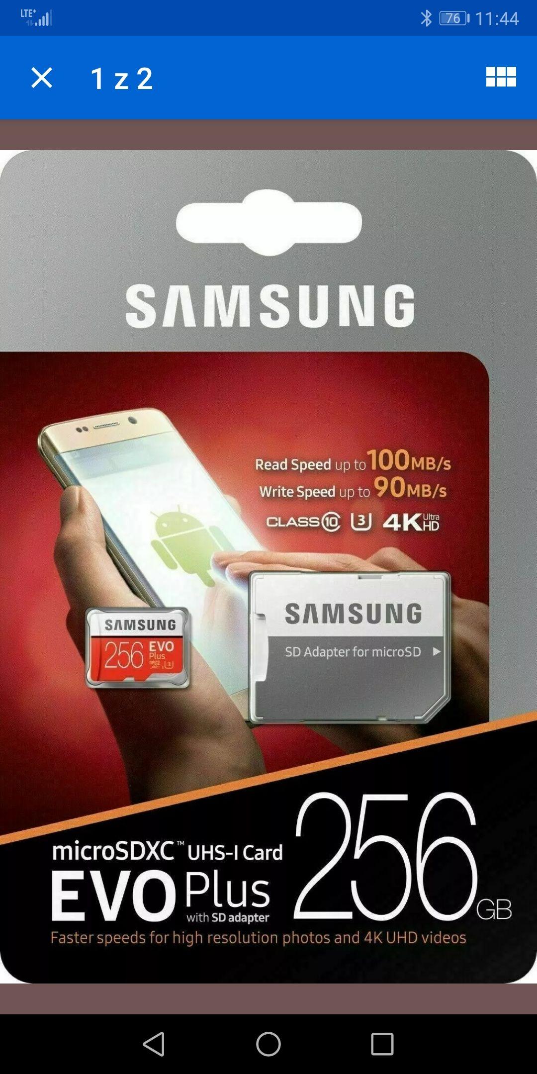 Karta microSDXC Samsung Evo Plus 256GB 12,99$