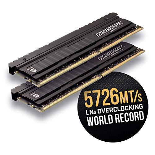 Zestaw pamięci Elite Ballistix, (DDR4, 3600 MT / s, PC4-28800, CL16, Single Rank x8, DIMM, 288-pin), 16 GB (8 GB x 2), czarny