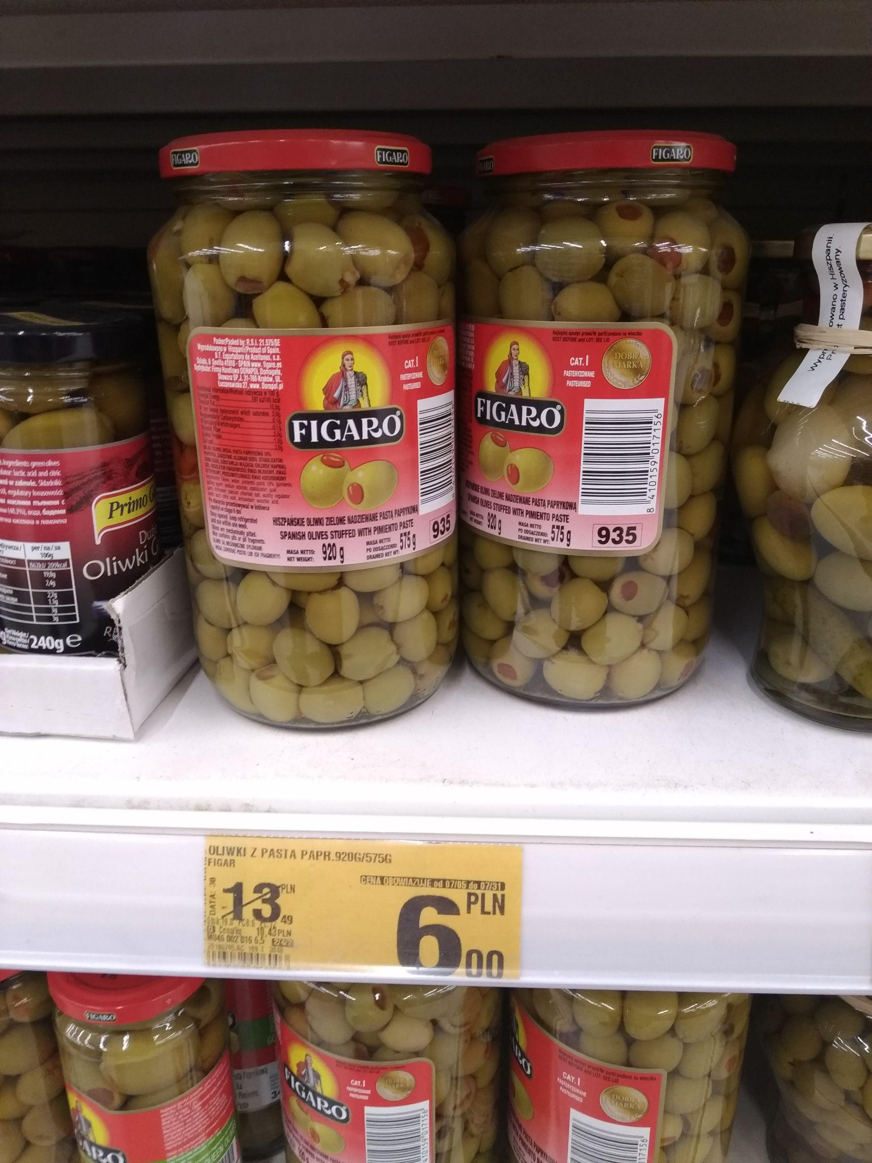 Hiszpańskie oliwki zielone nadziewane pastą paprykową w Auchan M1 Radom