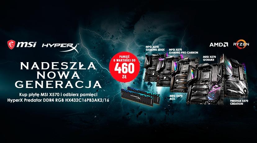 Kup płytę główną MSI X570 i odbierz pamięci HyperX Predator DDR4 RGB
