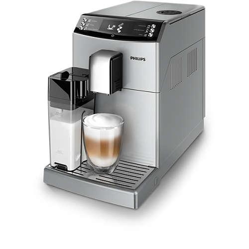 Automatyczny ekspres do kawy Philips EP3551/10, 3100 series, zintegrowana karafka, młynek ceramiczny, srebrny oraz czarny