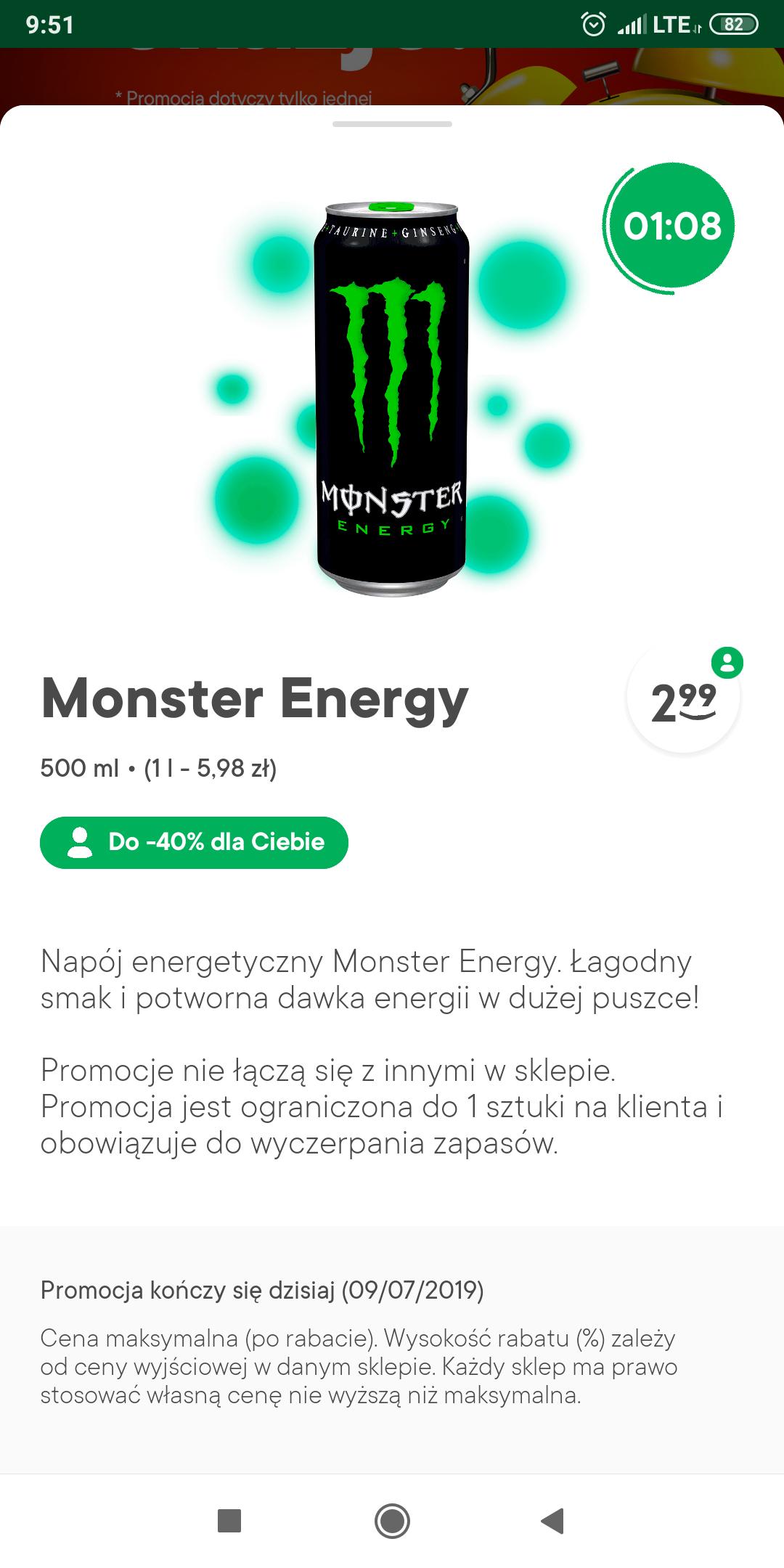 Monster Energy Drink Żabka - cena z aplikacją Żappka