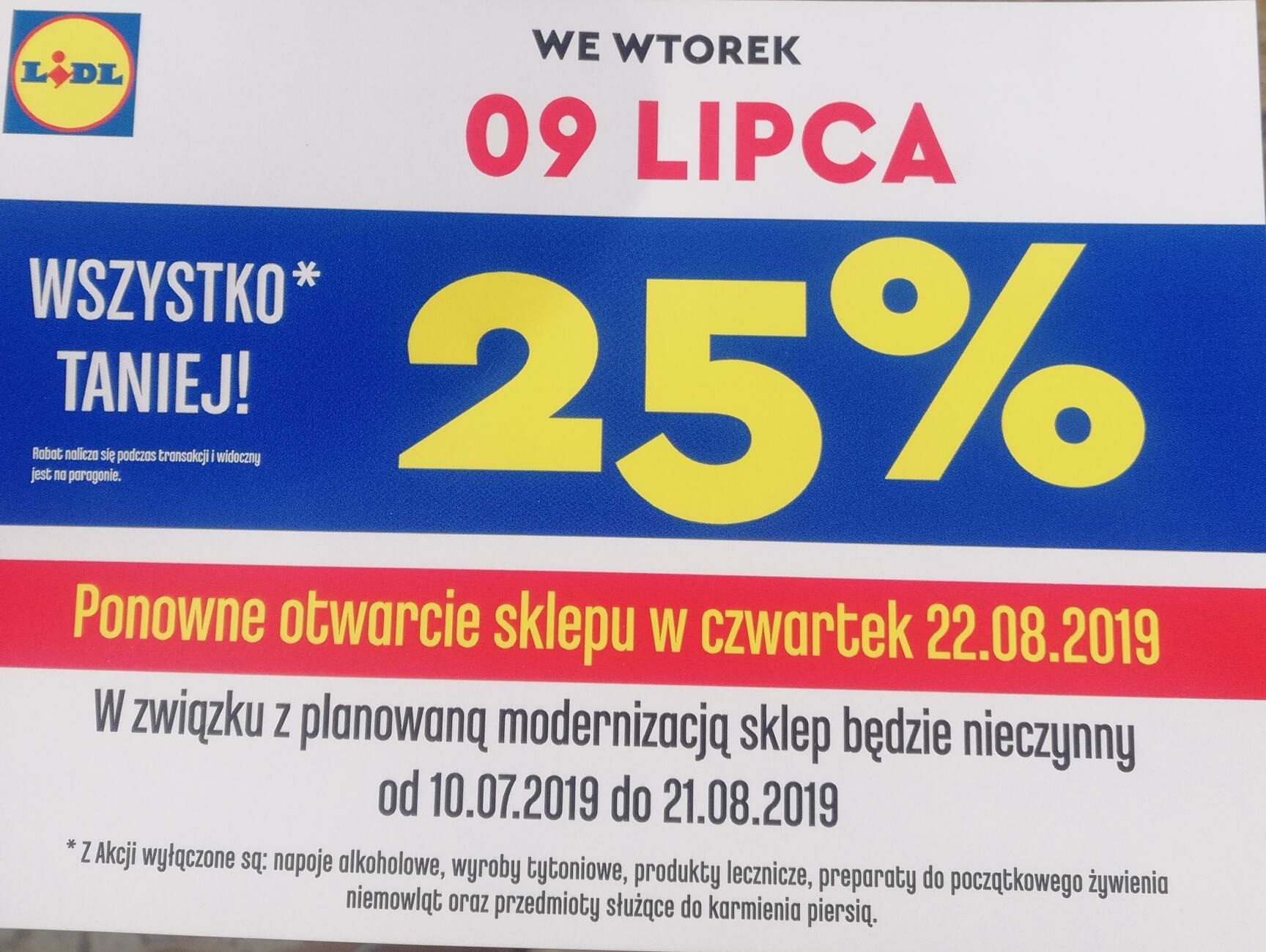 -25% na wszystko* Lidl Katowice ul.Obroki 50