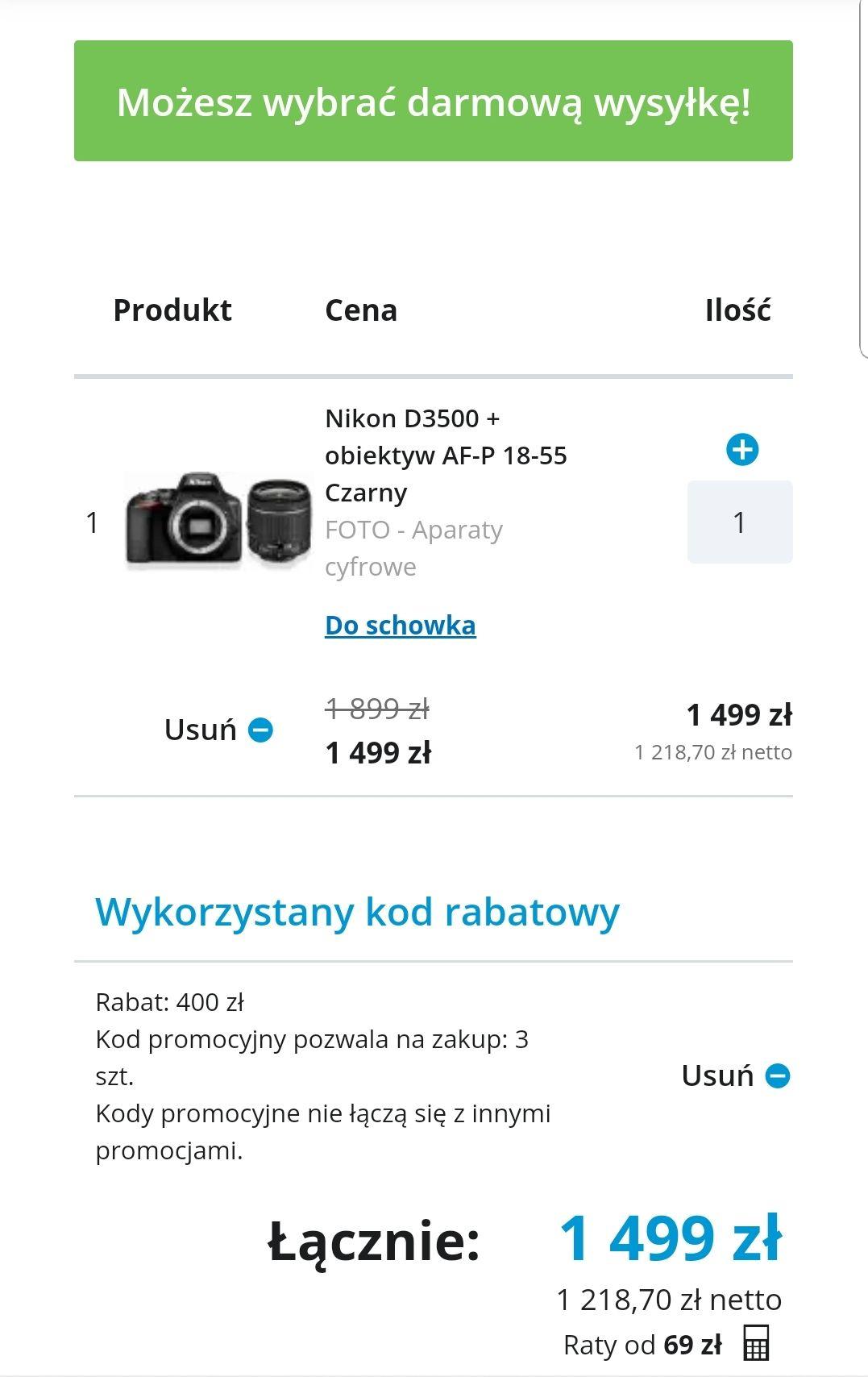 Nikon D3500 + obiektyw AF-P 18-55 Czarny  Komputronik