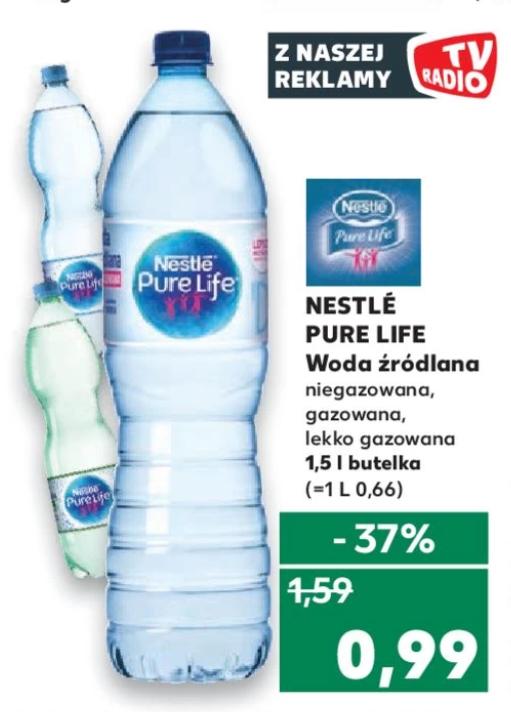 Nestle Pure Life Woda Źródlana 1.5L, Gazowana/Niegazowna/Lekko gazowana. Kaufland