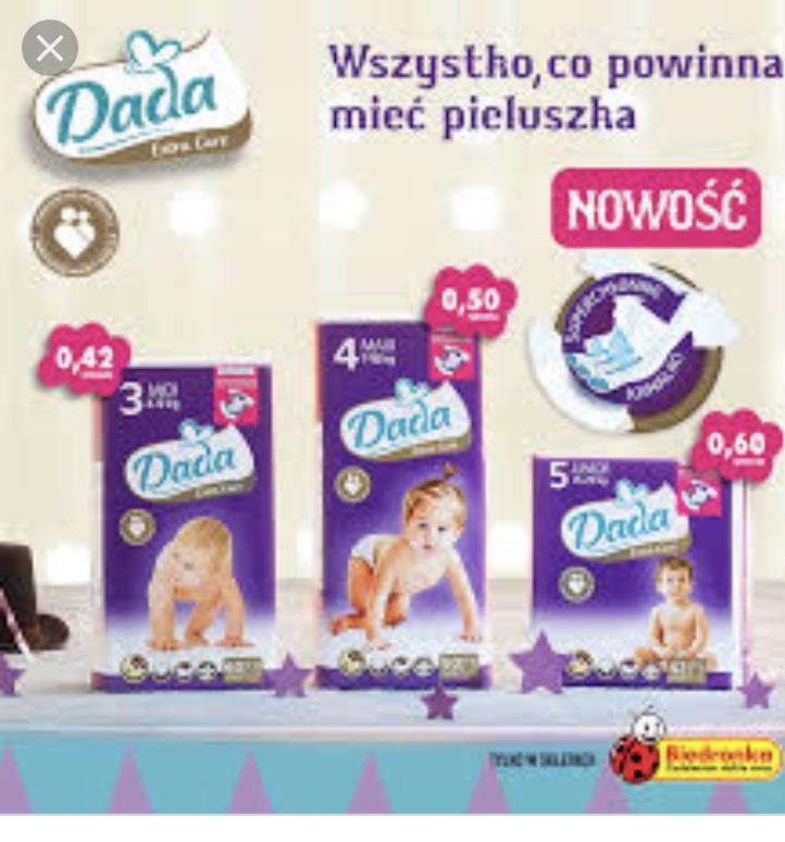 Pieluchy Dada Extra Care 3,4,5 przy zakupie 2 opak12,24 z kartą MB lub bez karty Biedronka