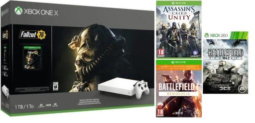 Xbox One X 1TB + 4 gry , Biała Nowa