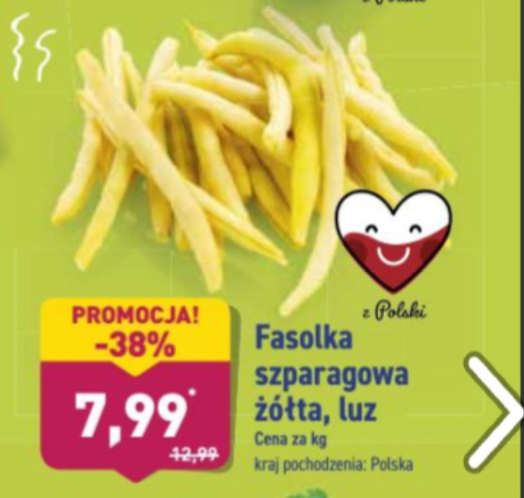 Fasolka szparagowa żółta polska luz,cena za 1 kg@Aldi 15.07-20.07