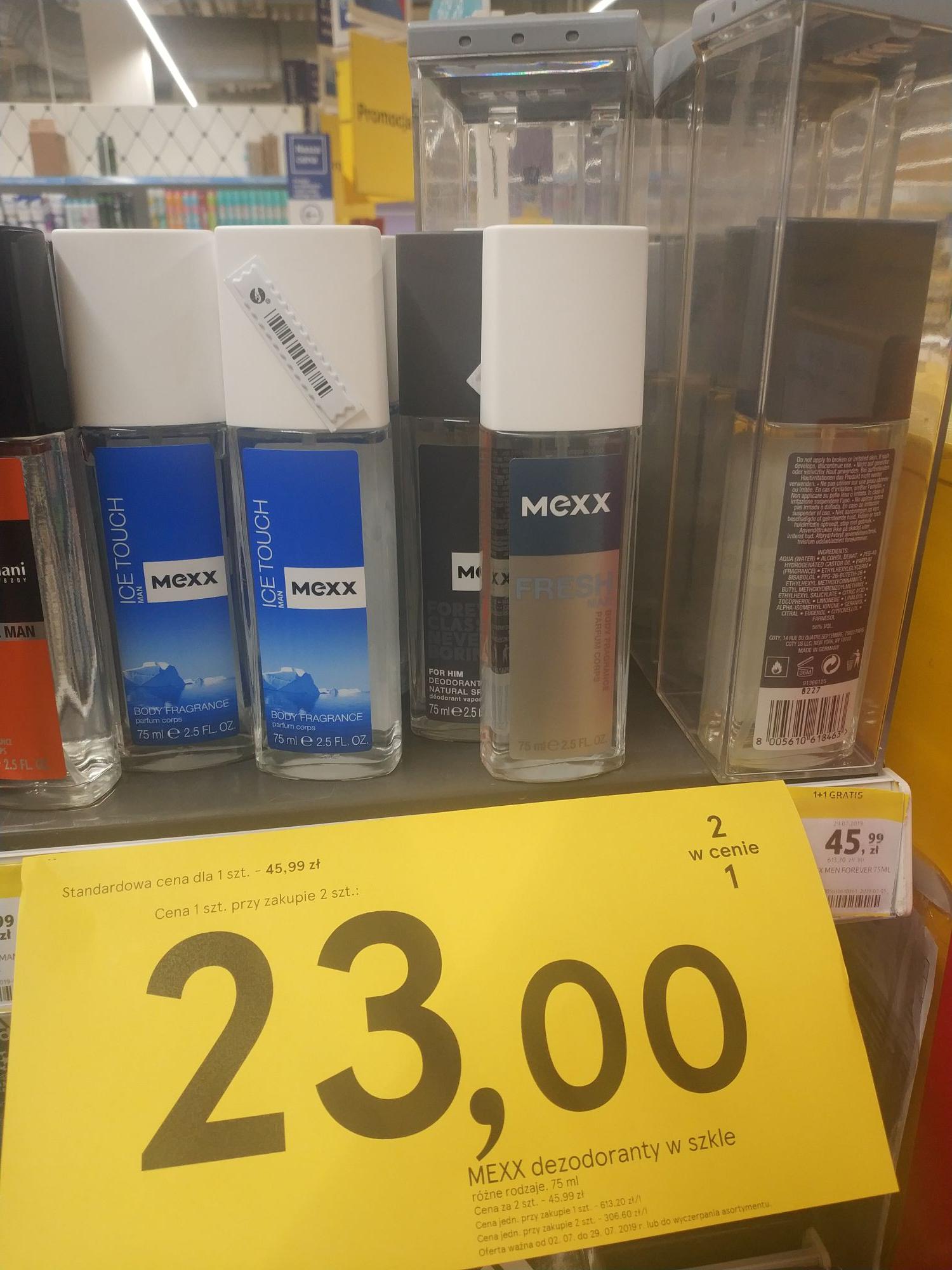 Mexx dezodorant w szkle. 2szt w cenie 1.  Tesco Puławy.