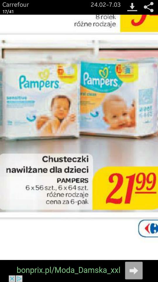 Chusteczki nawilżane pampers 6-pak od.24.02 Carrefour hipermarket