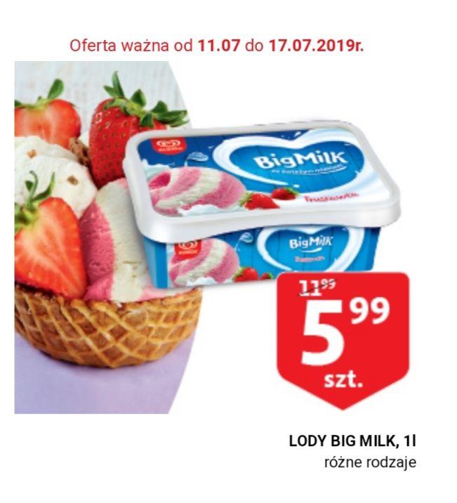 Lody Big Milk 1L, różne rodzaje,  Auchan