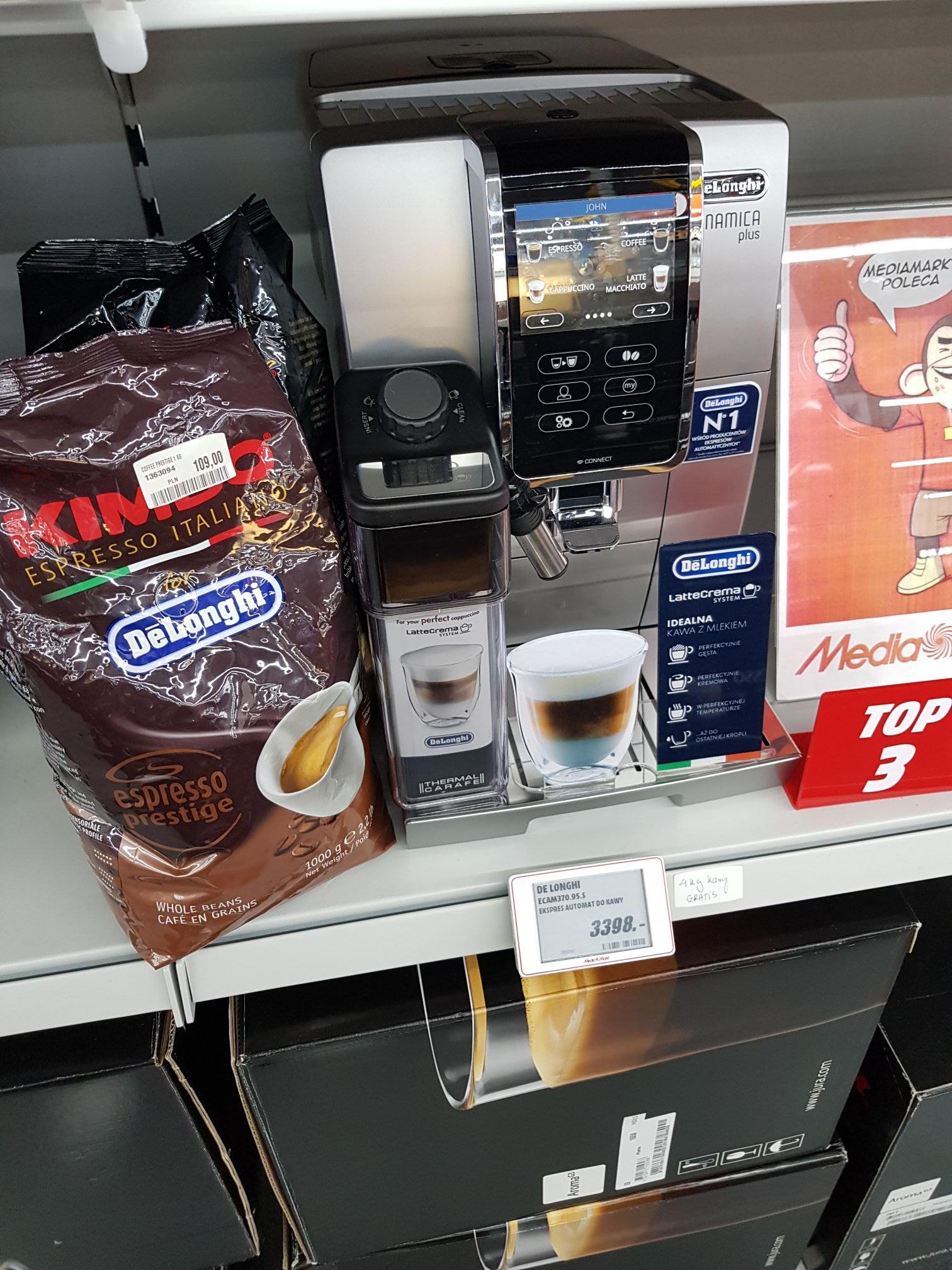 Ekspres Delonghi ECAM 370.95.S + 4kg kawy marki KIMBO