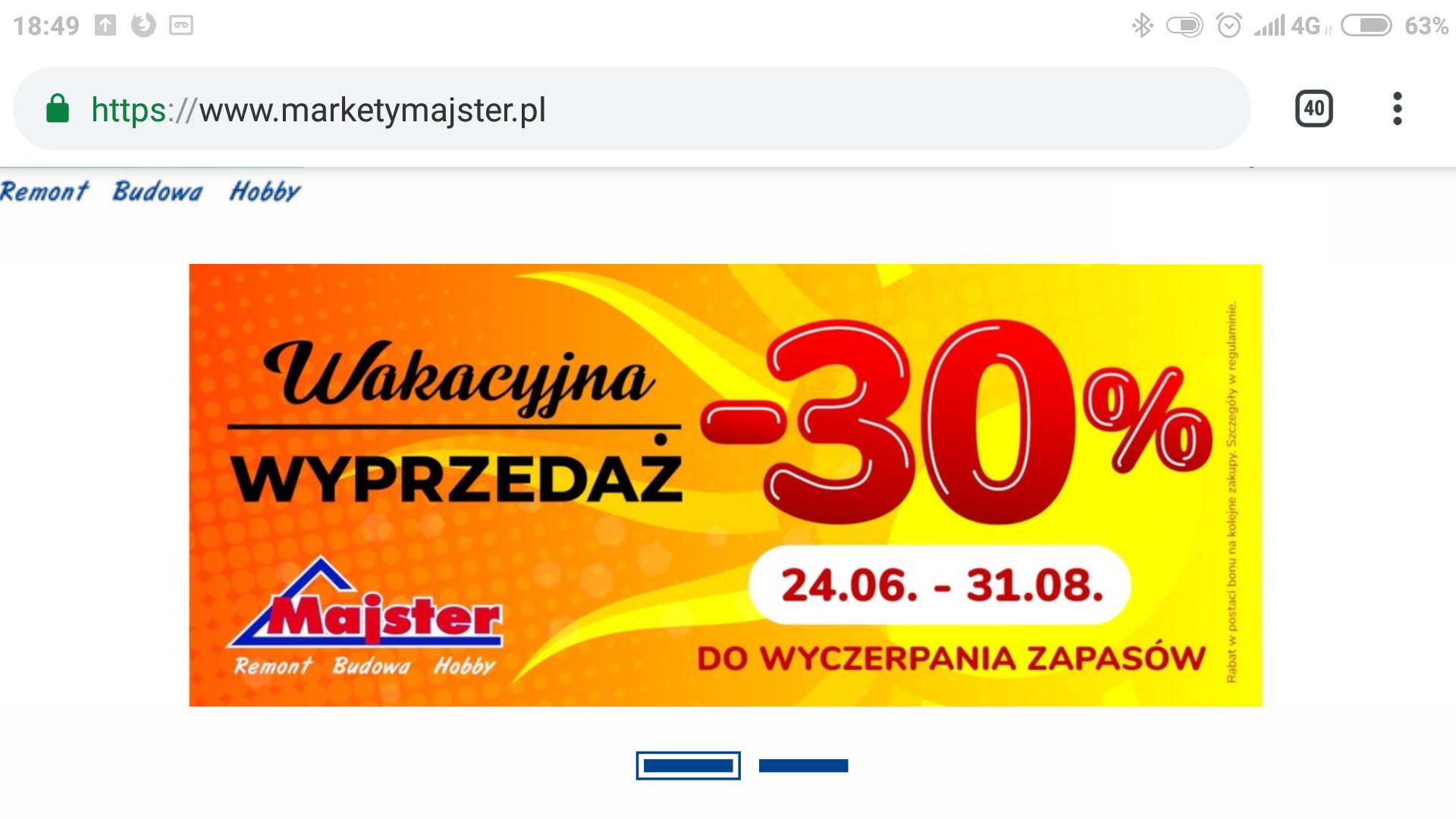 Markety budowlane Majster minus 30% od żółtej ceny