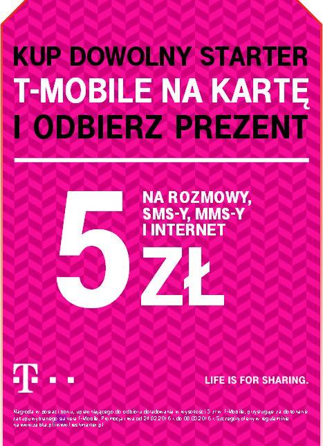 Kup dowolny starter T-mobile na kartę i odbierz doładowanie 5zł w sieci sklepów Żabka i FreshMarket