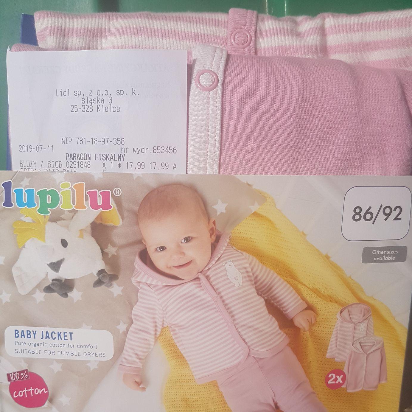 Kielce LIDL Dwie bluzy niemowlęce z bawełny bio. Były też dla chłopców.