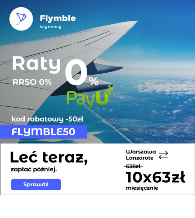 Kod 50zł i raty 0% na bilety lotnicze @ Flymble