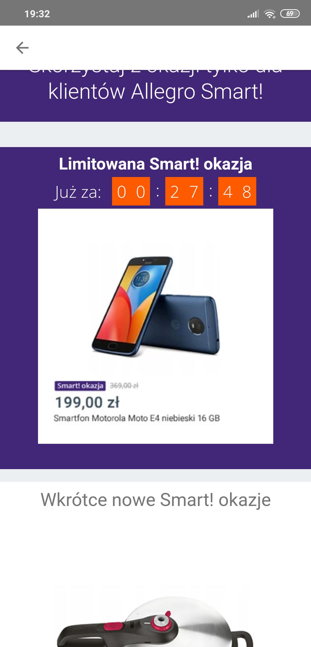 Motorola E4 niebieski o 20 na allegro