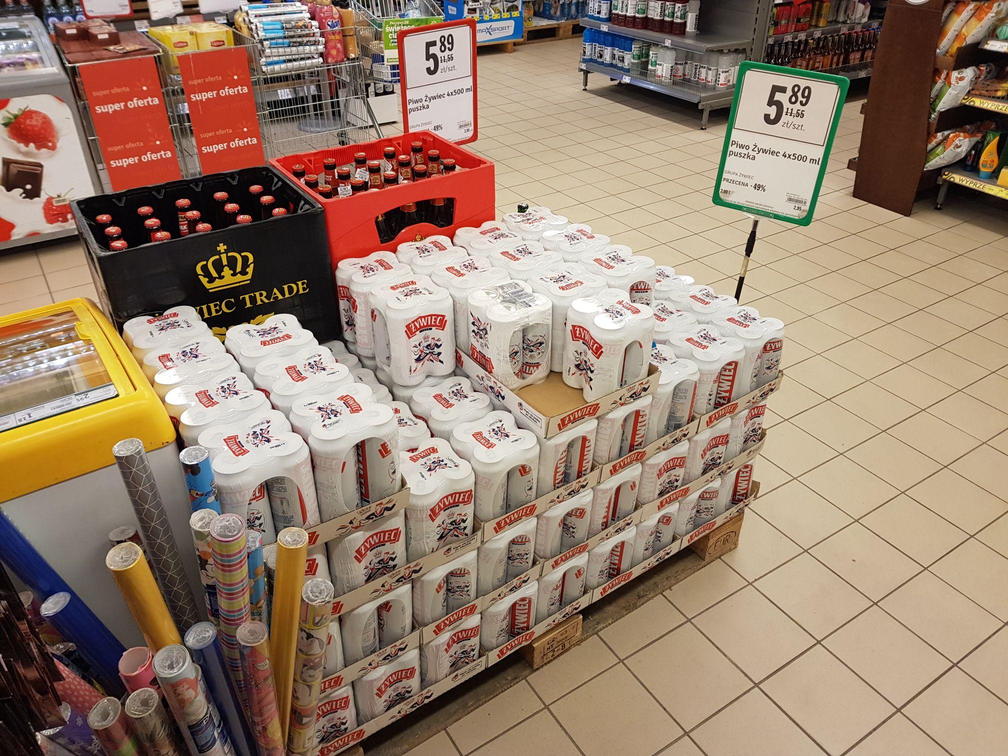 Żywiec 4xpak przecena stokrotka Borkowo osiedle cytrusowe  (Gdańsk) lokalnie ?