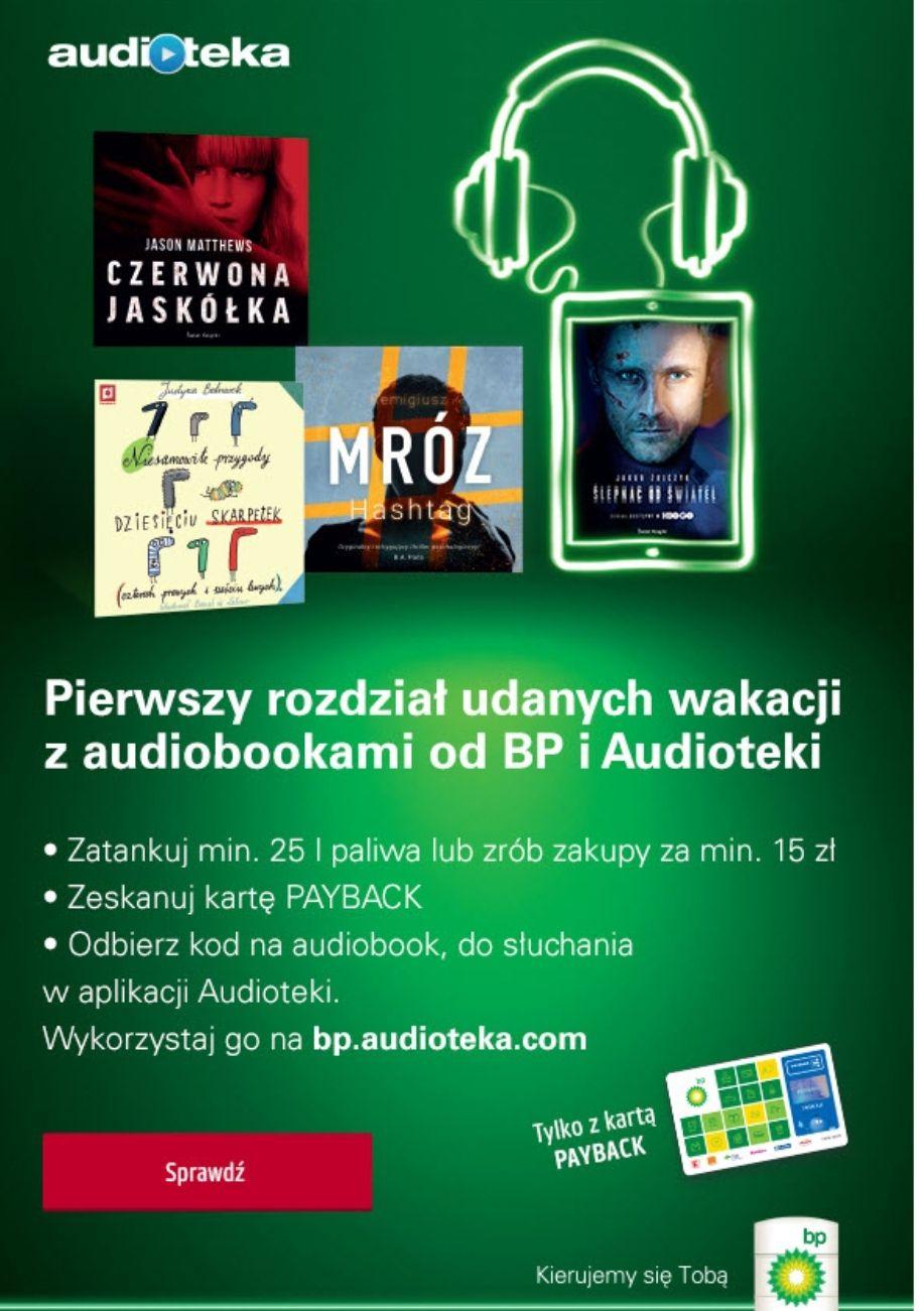 Audioteka - darmowe audiobooki za zakup 25l paliwa na BP - 16 tytułów