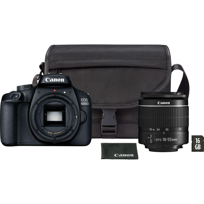 Lustrzanka Canon EOS 4000D WiFi + EF-S 18-55mm f/3,5-5.6 + torba SB130 + karta 16GB