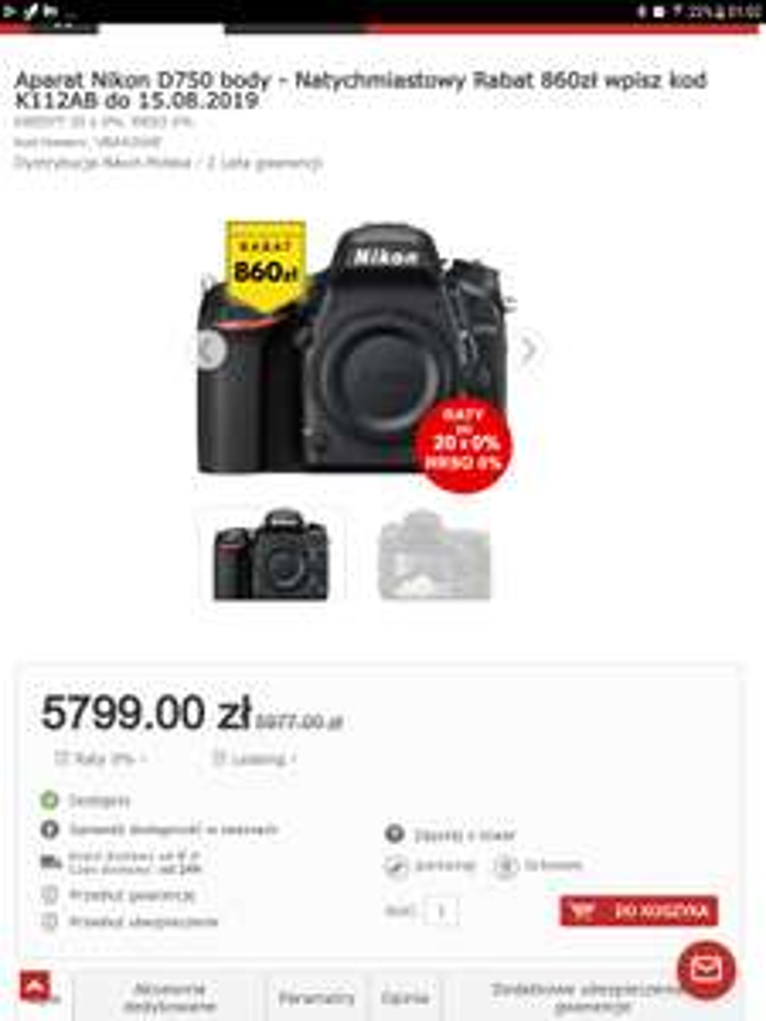Aparat fotograficzny Nikon D750 w dobrej cenie