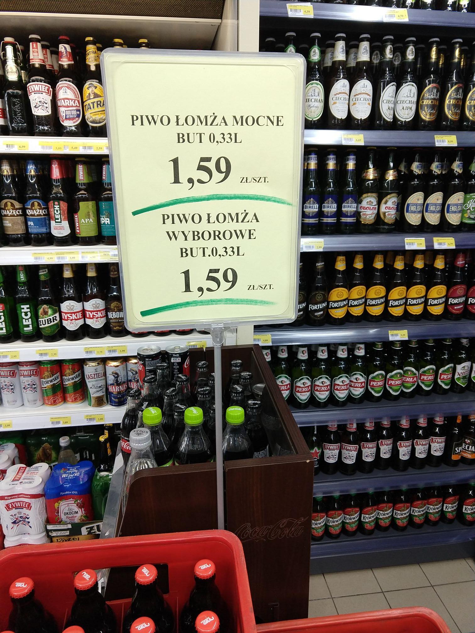 Piwo Łomża Wyborowe lub Łomża Mocne 0,33.