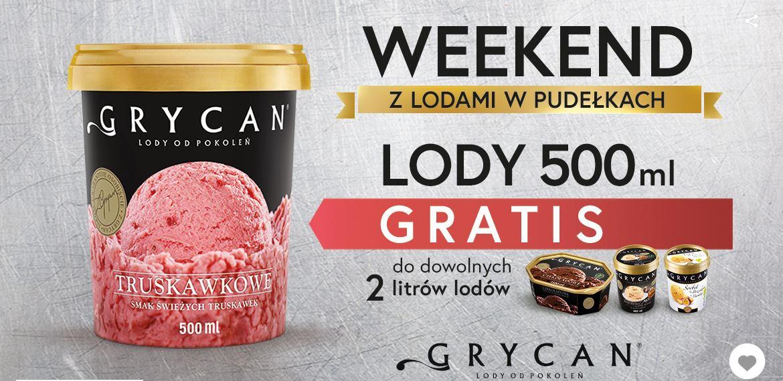 Lody GRYCAN 500ml gratis przy zakupie 2 litrów (2 duże pudełka) - ważne TYLKO w Lodziarnio-kawiarniach