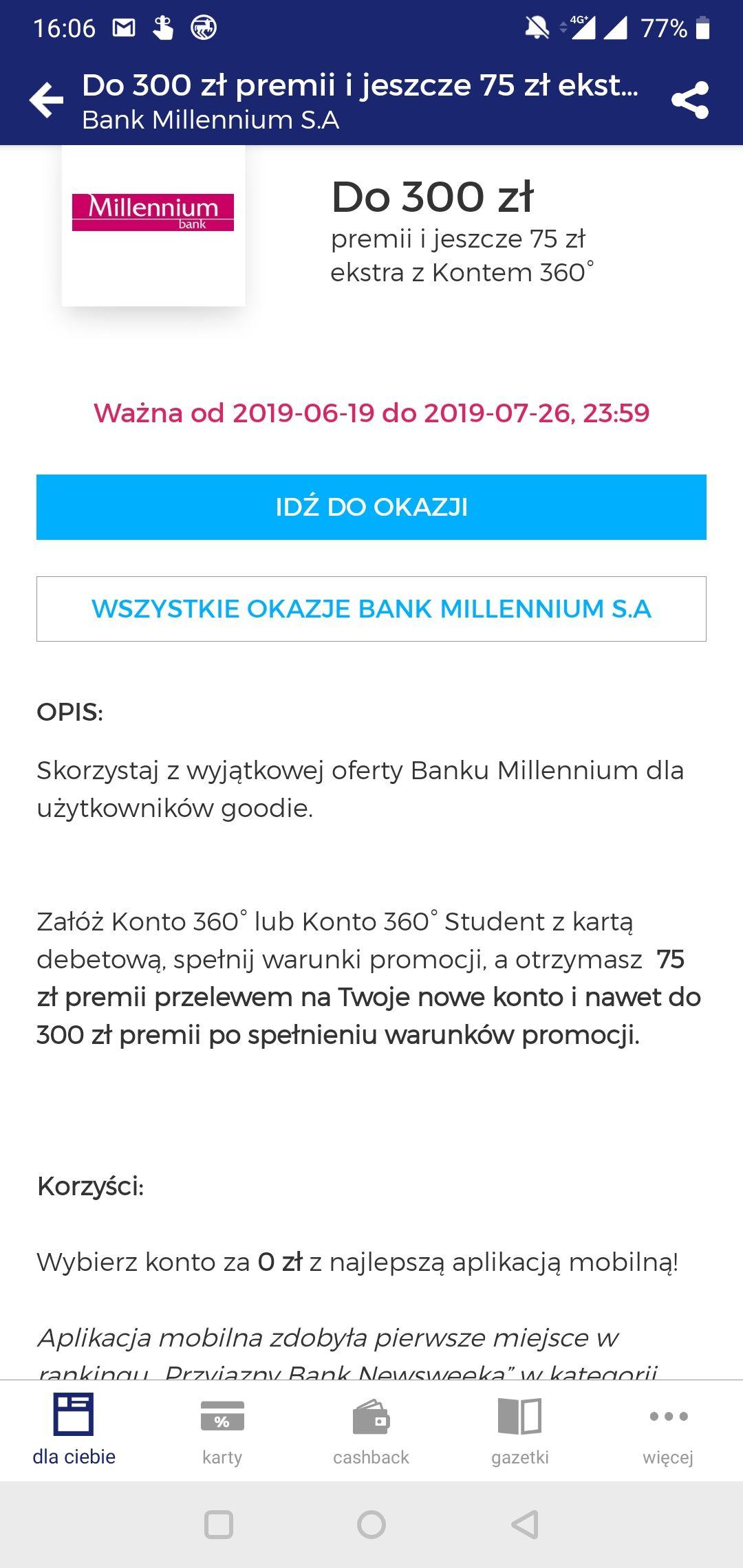 Do 375 zł za otwarcie konta w Banku Millennium