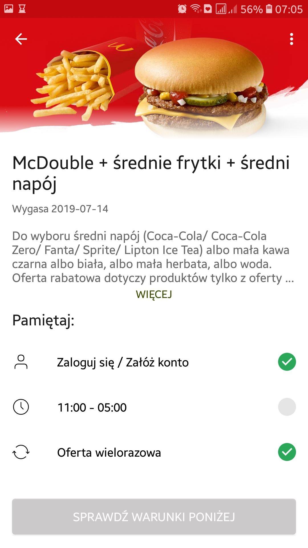 Mc double+średnie frytki+średni napój z aplikacją Mc Donald