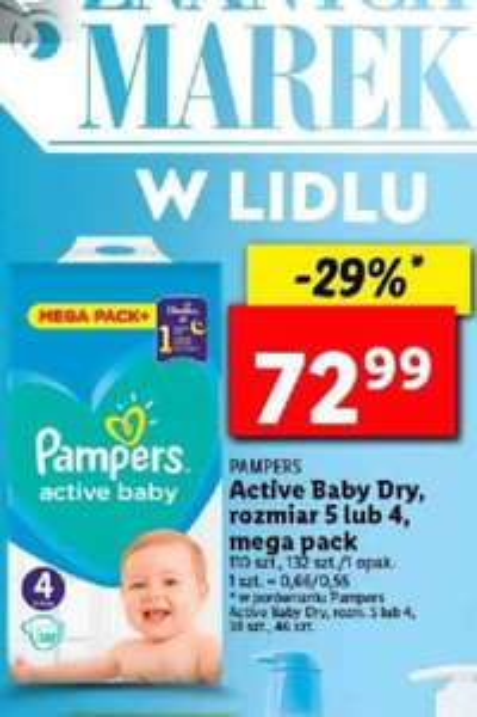 Pampers Active Baby Dry 4 i 5 paczka 132 szt. w LIDL-u