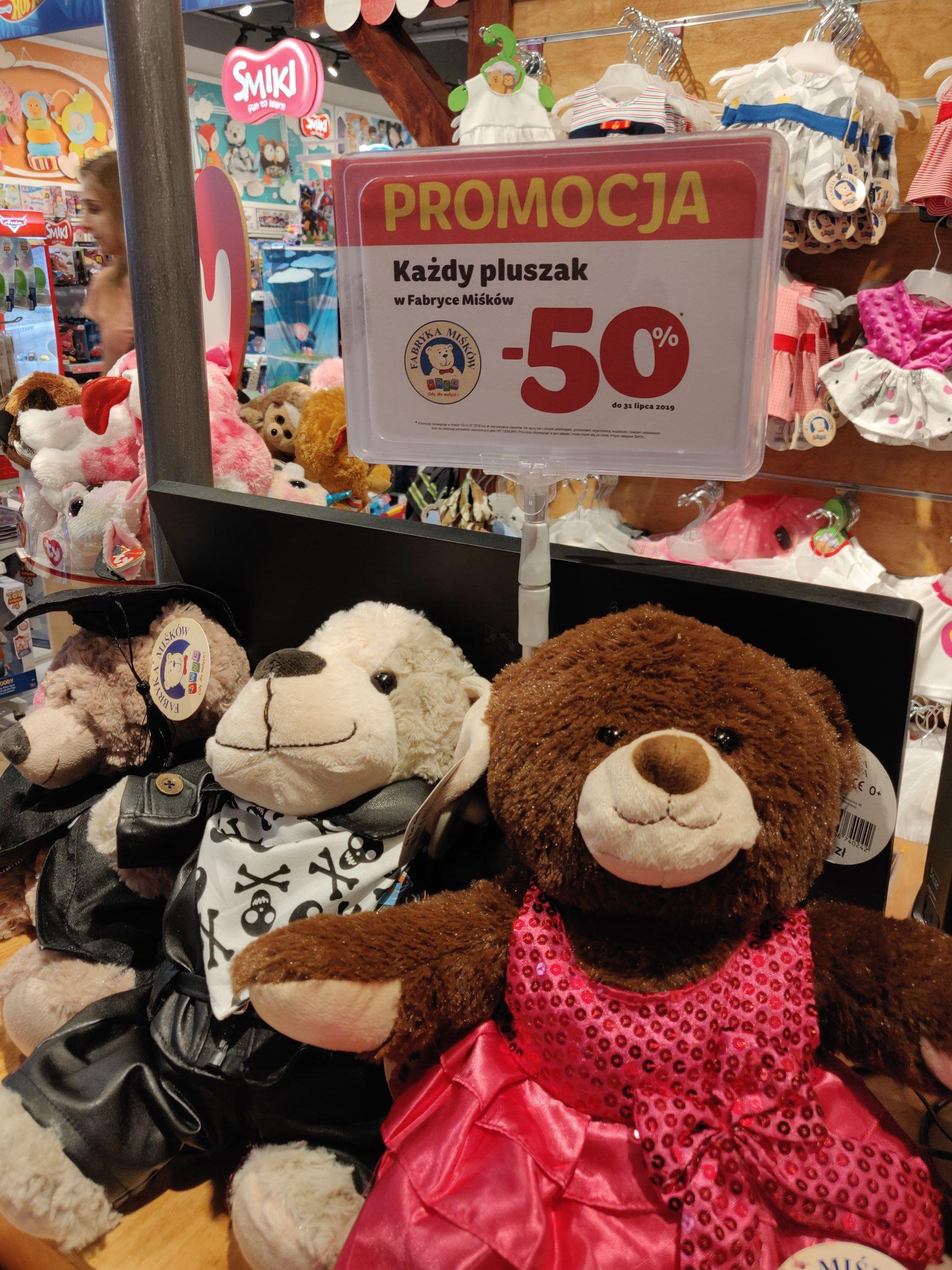 Pluszowe misie za pół ceny (14,99zł) w wybranych sklepach Smyk