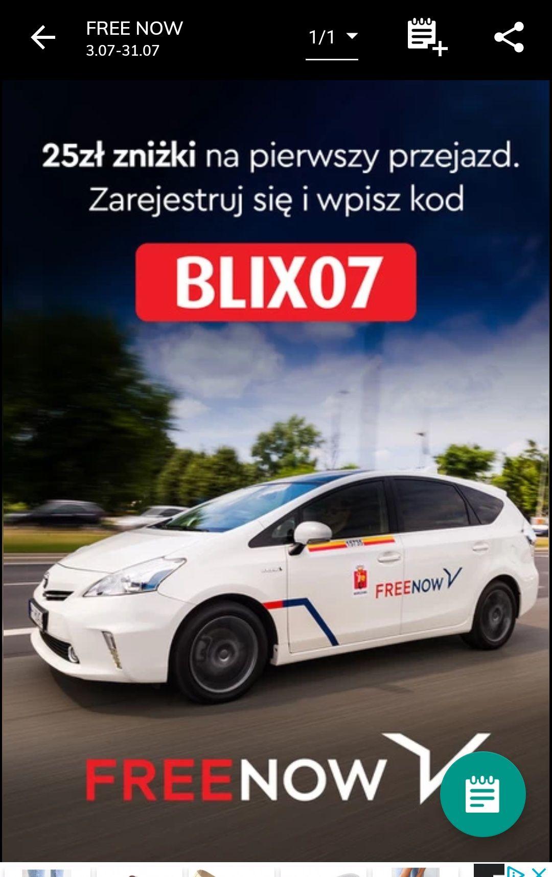 25 pln zniżki na pierwszy przejazd FREE NOW (FREENOW)  z Blix