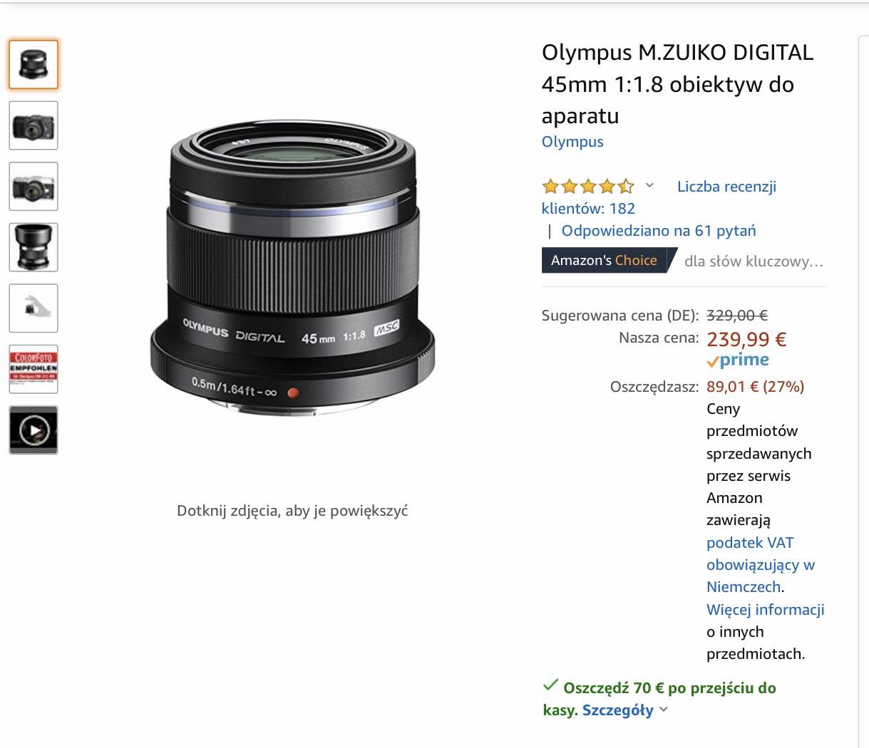 Obiektywy Olympus m4/3 na Amazonie