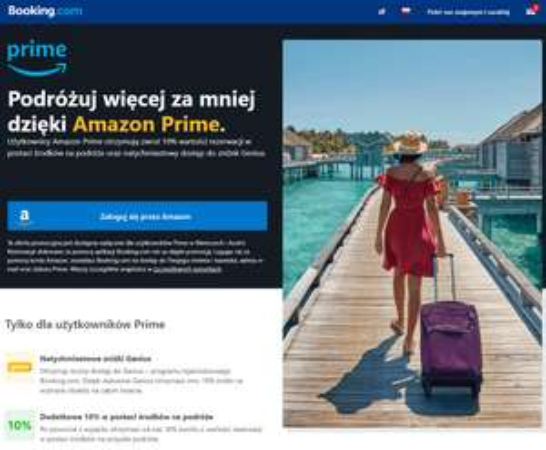 booking.com - 10% cashback na kolejne podróże z Amazon Prime. MWZ €700