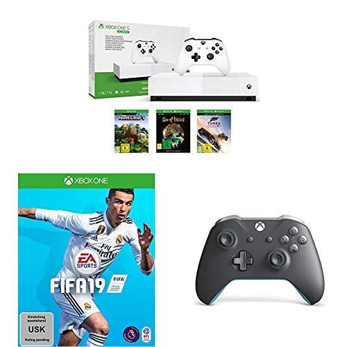 XBOX ONE S 1 TB (bez napędu optycznego) + 2 pady (biały i szary) + FIFA 19 + Minecraft + Forza Horizon 3 + Sea of Thieves - Amazon [PRIME]