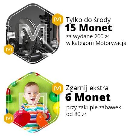 +15 Monet za wydanie 200zł w kat. Motoryzacja oraz +6 Monet za wydanie 80zł w kat. Zabawki @ Allegro