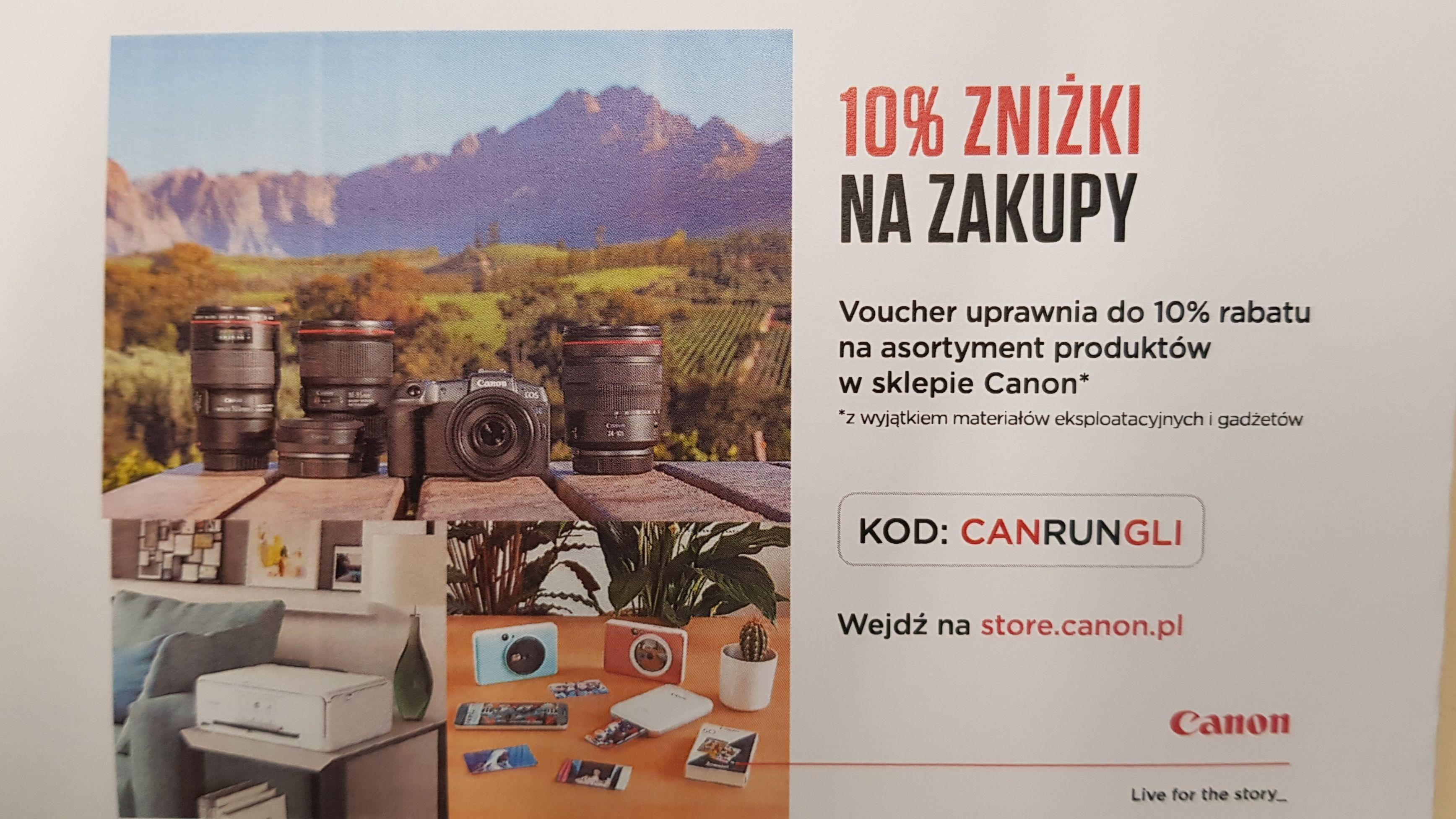 10% zniżki na zakupy w oficjalnym sklepie Canon