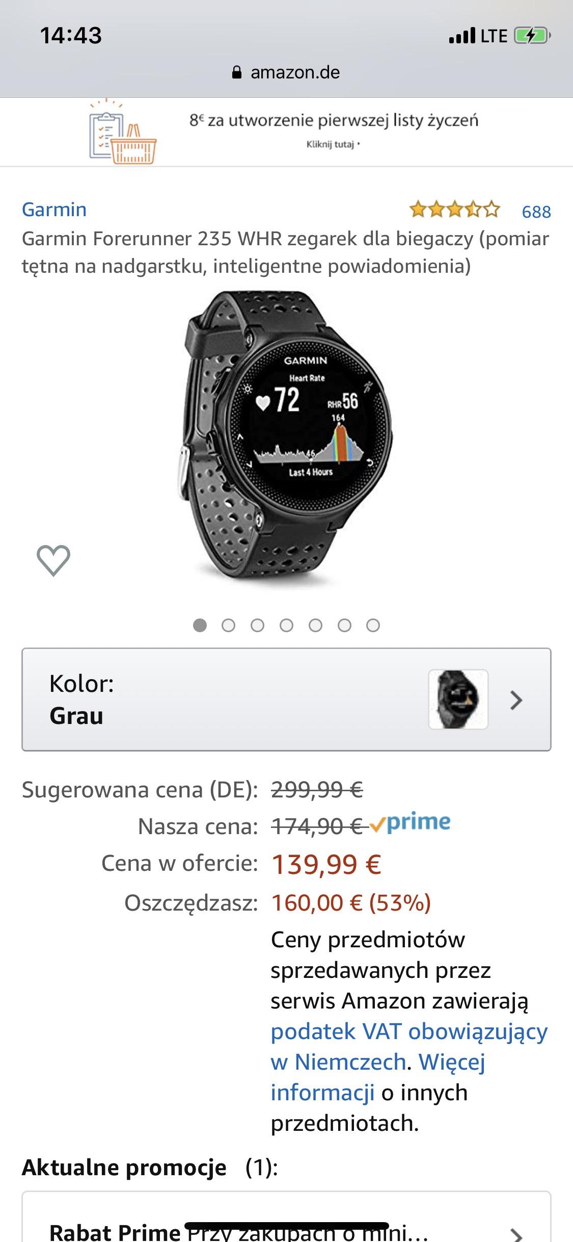 Garmin Forerunner 235 WHR zegarek dla biegaczy