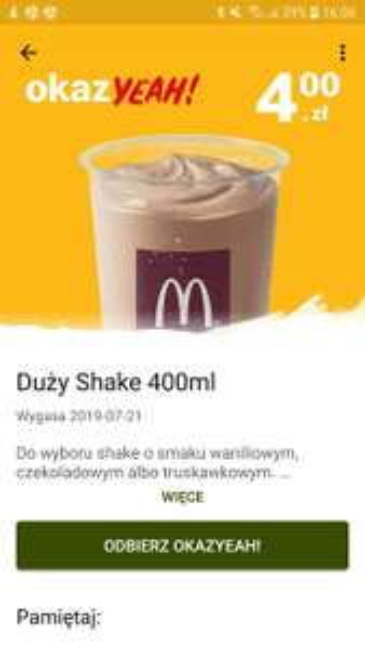 "Duży shake 400ml w ,,McDonald"""