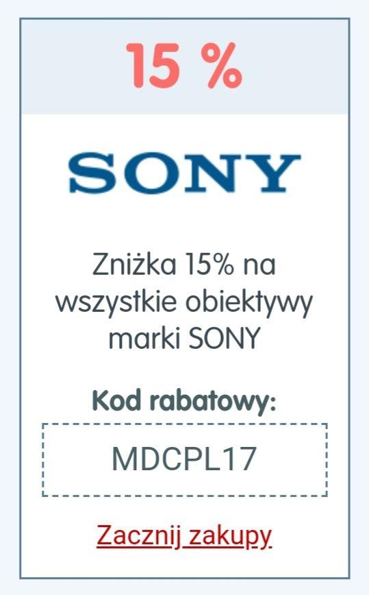 Zniżka 15% na obiektywy marki Sony