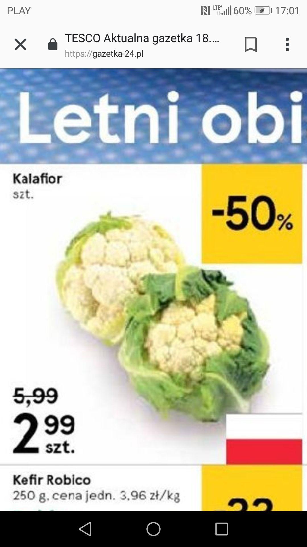 Kalafior w Tesco za 2,99zł/szt od 18.07
