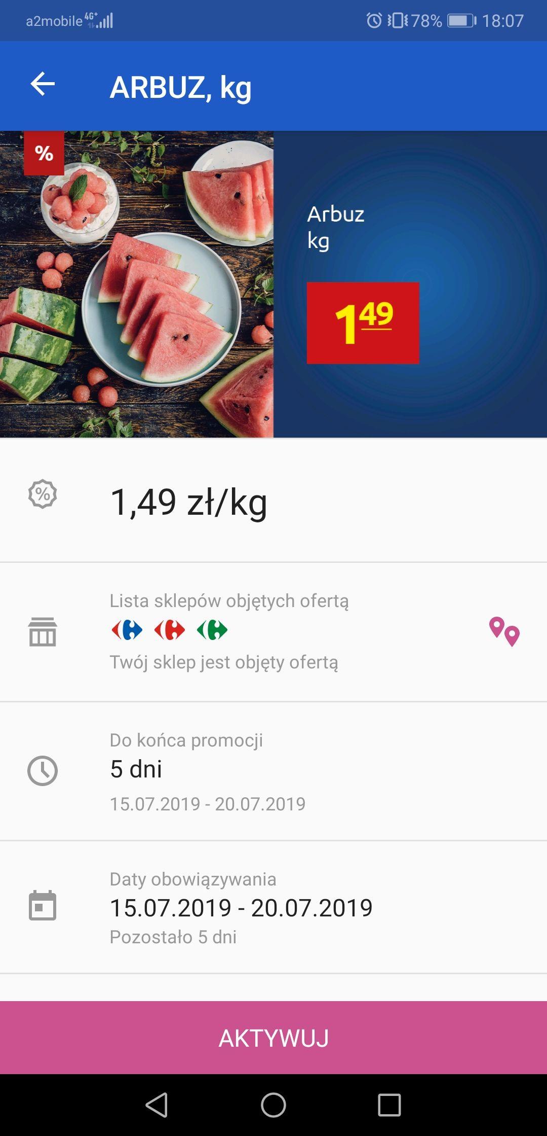 Arbuz 1.49zł/kg z kuponem w aplikacji Carrefour