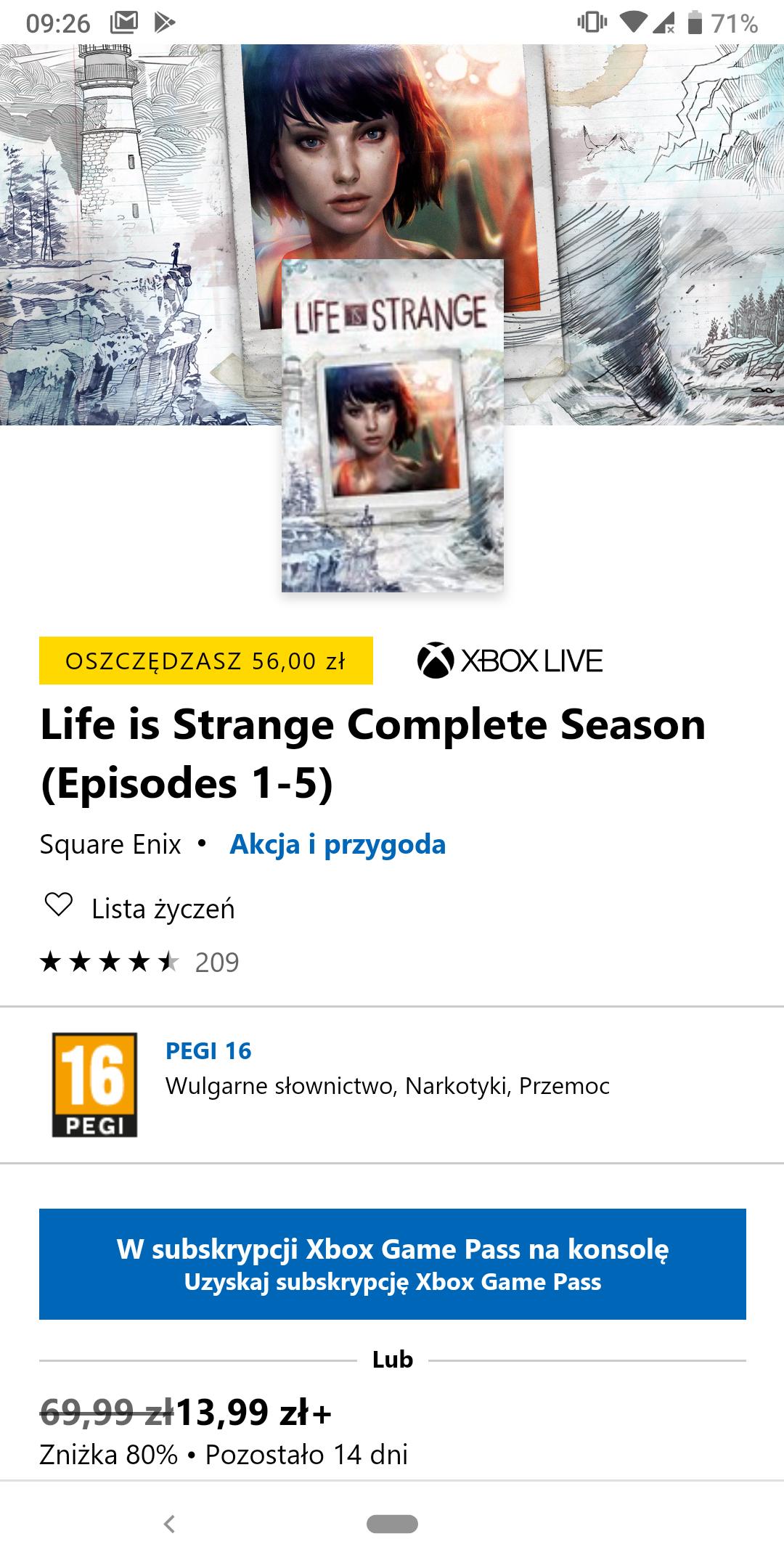 Life is Strange Complete Season (Episodes 1-5) Xbox One
