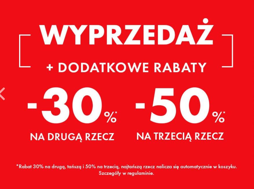30% rabatu na drugą rzecz i 50% rabatu na trzecią rzecz w 50style.pl
