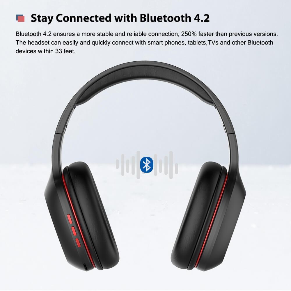 Nauszne, bezprzewodowe słuchawki AUSDOM M09 z kartą TF